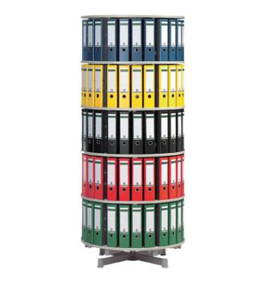 Ordnerdrehsäule 5 Etagen alusilber Durchmesser 81 cm für 120 Ordner