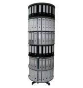 Ordnerdrehsäule 2 Etagen alusilber Durchmesser 81 cm für 48 Ordner
