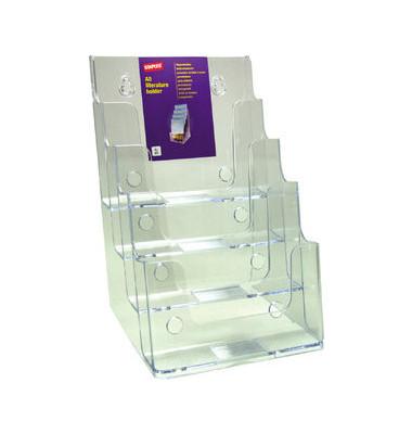 Prospektständer für Tisch/Wand 4 Fächer A5 glasklar