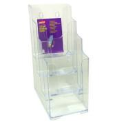 Prospektständer für Wand/Tisch 4 Fächer DIN lang transparent