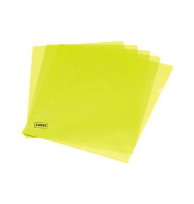 Sichthüllen 7337864, A4, gelb, transparent, genarbt, 0,12mm, oben & rechts offen, PP-Folie