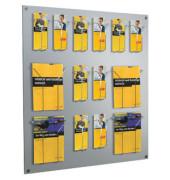 Wandprospekthalter Focus silber 9 Fächer A4/18 Fächer DIN lang