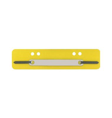 Heftstreifen kurz 7392460, 34x150mm, Kunststoff mit Kunststoffdeckleiste, gelb, 100 Stück