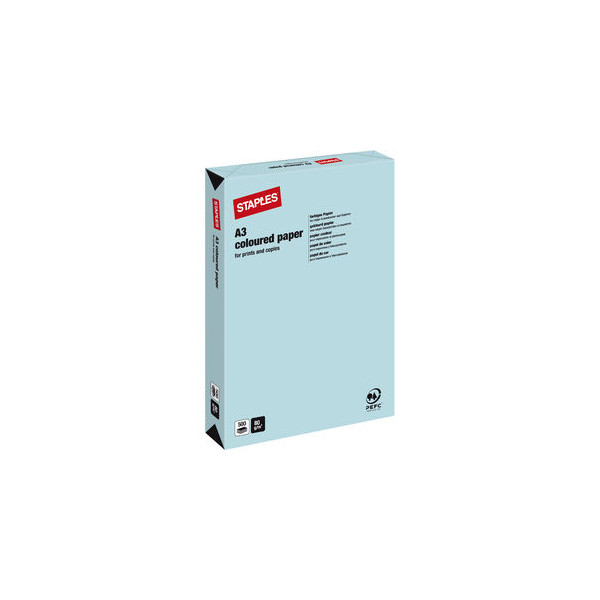 Staples coloured paper eisblau pastell a3 80g kopierpapier for Servietten eisblau