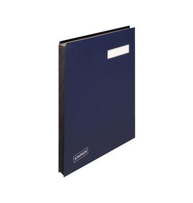 Unterschriftenmappe A4 Kunststoff blau mit Einsteckschild 20 Fächer