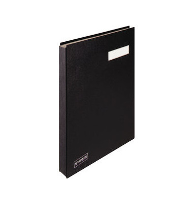 Unterschriftenmappe A4 Kunststoff schwarz mit Einsteckschild 20 Fächer