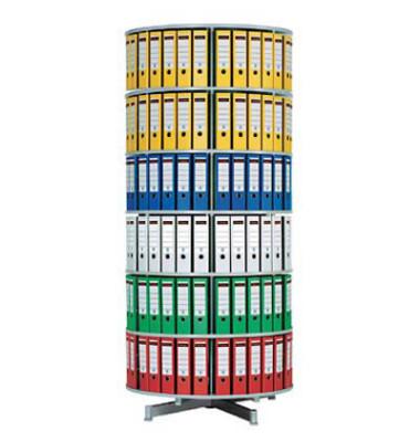 Ordnerdrehsäule 6 Etagen alusilber Durchmesser 100 cm Gesamthöhe 216 cm