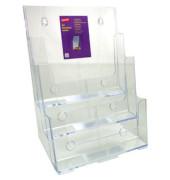Prospektständer für Wand/Tisch 3 Fächer A4 transparent