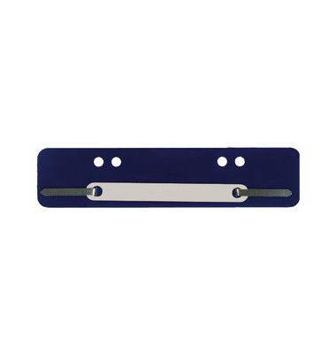 Heftstreifen kurz 7458406, 34x150mm, Kunststoff mit Kunststoffdeckleiste, blau, 100 Stück