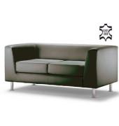 Couchgarnitur Wait schwarz echtes Leder Zweisitzer