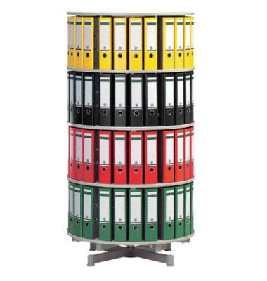 Ordnerdrehsäule 4 Etagen alusilber Durchmesser 81 cm für 96 Ordner