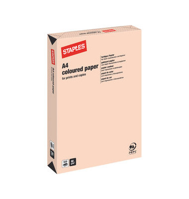 staples coloured paper lachs pastell a4 80g kopierpapier 500 blatt. Black Bedroom Furniture Sets. Home Design Ideas