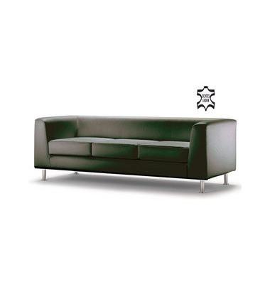 Couchgarnitur Wait schwarz echtes Leder Dreisitzer