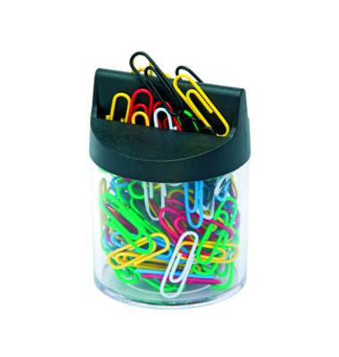 Klammerspender 70 x 70mm magnetisch rund bunt-gefüllt farblos/schwarz Kunststoff