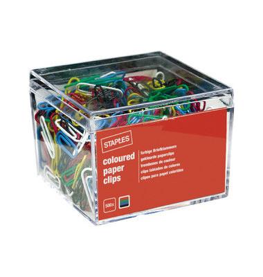Büroklammern Color 7875790, 26mm, Metall kunststoffüberzogen farbig sortiert, 500 Stück