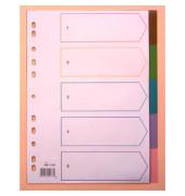 Kunststoffregister 8001382 blanko A4 0,15mm transparent farbige Taben 5-teilig