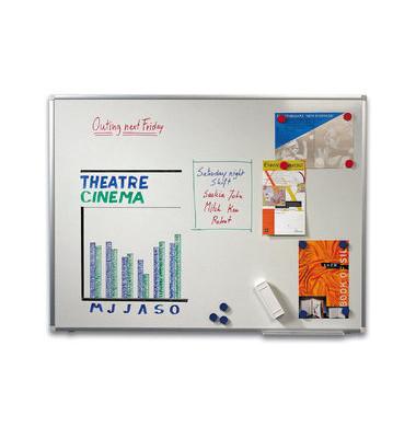 Whiteboard 120 x 90cm weiß emailliert Aluminiumrahmen