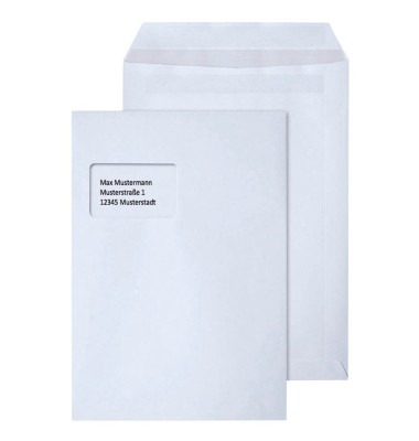 Versandtaschen C4 mit Fenster selbstklebend weiß 250 Stück