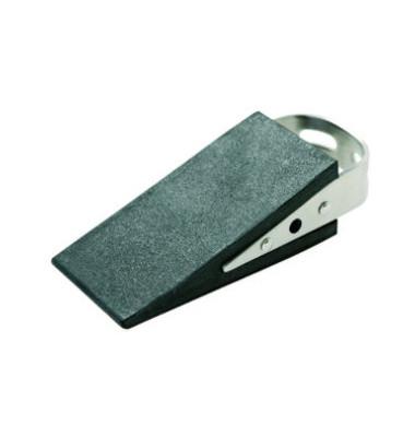 Türstopper Gummi Keilform schwarz/chrom 50x35x130mm mit Handgriff