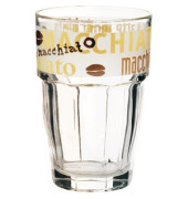 Trinkglas HAPPY HOURS 370ml 120 mm mit Druck LatteMacciato 6 Stück