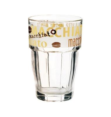 Trinkglas Happy Hours mit Druck LatteMacciato 370ml  Glas 6 Stück