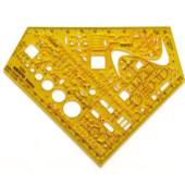 Schulwinkel Elektro Schablone gelb 155x155x1,3 0,3-0,5
