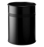 Stahlpapierkorb 15 Liter schwarz 4 Reihen perf.