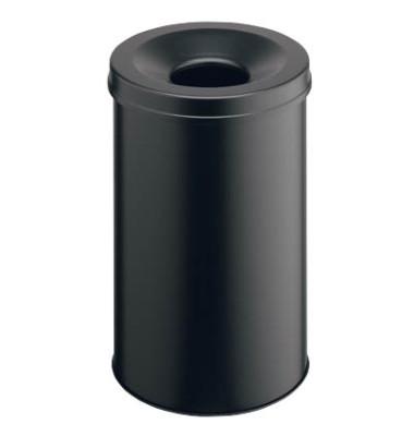 Stahlpapierkorb 30 Liter mit Flammenlöschkopf schwarz