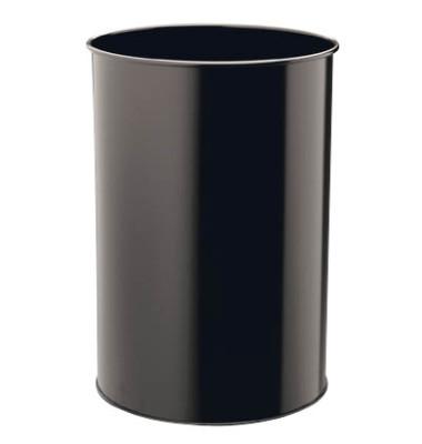 Stahlpapierkorb 30 Liter schwarz