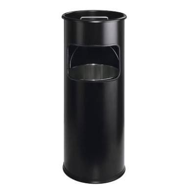 Mülleimer Executive mit Aschenbecher schwarz Durchmesser: 26 cm