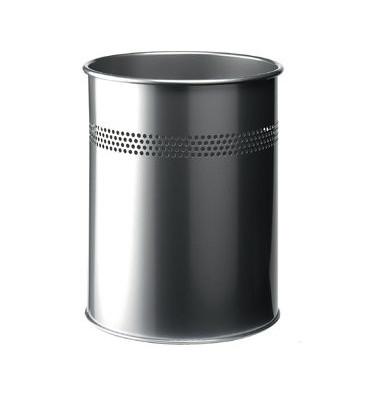 Stahlpapierkorb 15 Liter silber 4 Reihen perf.