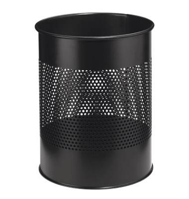 Stahlpapierkorb 15 Liter schwarz 20 Reihen perf.