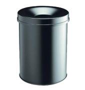 Safe Papierkorb 15 Liter Stahl mit Flammenlöschkopf schwarz
