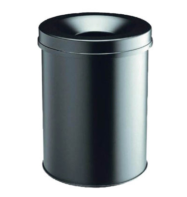 Stahlpapierkorb 15 Liter mit Flammenlöschkopf schwarz
