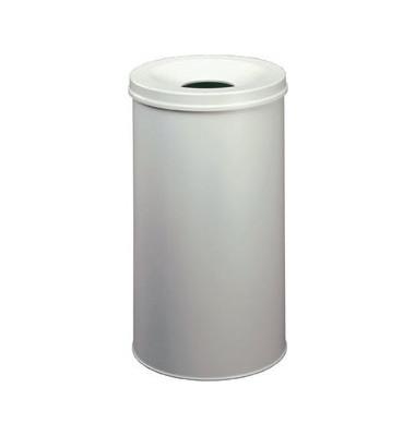 Stahlpapierkorb 62 Liter mit Flammenlöschkopf grau