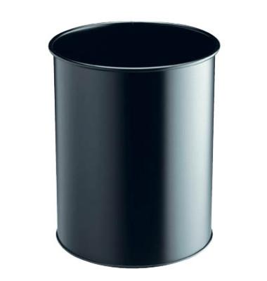 Stahlpapierkorb Business 15 Liter schwarz