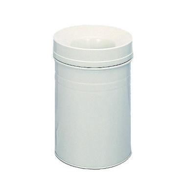 Stahlpapierkorb 15 Liter mit Flammenlöschkopf+ grau