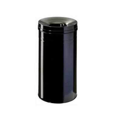 Stahlpapierkorb 30 Liter mit Flammenlöschkopf+ schwarz