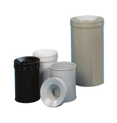 Stahlpapierkorb 62 Liter mit Flammenlöschkopf+ grau