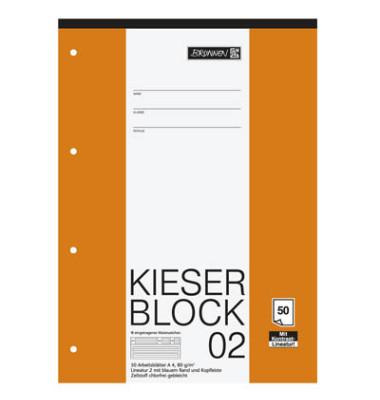 Briefblock KIESER A4 weiß liniert gelocht mit Rand 50 Blatt