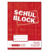 Schulblock A4 kariert 50 Bl. weiß 4-f.gel. Lin.28