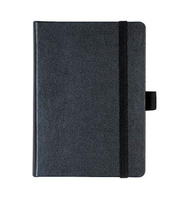 Notizbuch Kompagnon 105521602 schwarz A6 blanko 80g 96 Blatt 192 Seiten mit Gummiband paginiert