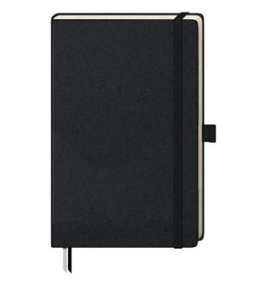 Notizbuch Kompagnon 105528802 schwarz A4 kariert 80g 96 Blatt 192 Seiten mit Gummiband paginiert