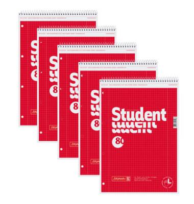 Spiralblock Student für Linkshänder A4 kariert gelocht perforiert mit Doppelrand 80 Blatt