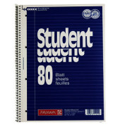 Collegeblock Student A4 weiß liniert gelocht 80 Blatt