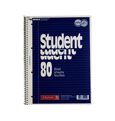 Collegeblock Student A4 liniert perforiert gelocht 80 Blatt