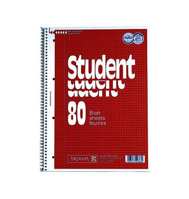 Collegeblock Student 80 10-67 942, A4 kariert, 70g 80 Blatt, 4-fach-Lochung