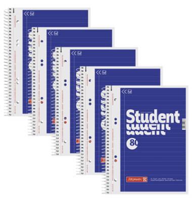 Collegeblock Student A6 weiß liniert gelocht 80 Blatt
