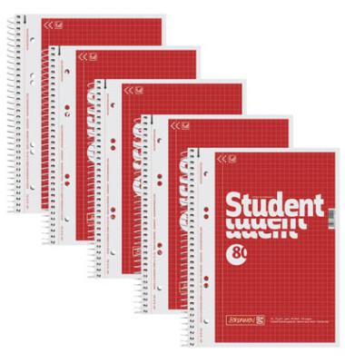 Collegeblock Student A5 kariert perforiert gelocht mit Innenrand 80 Blatt