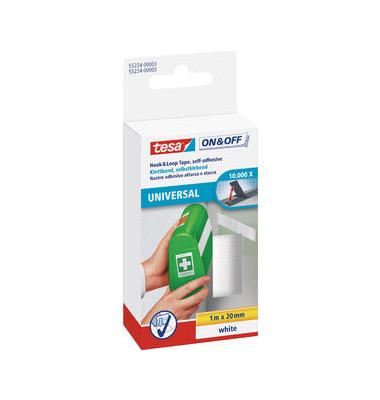 Klettband Velcro zum Aufkleben weiß 20mm x 1m